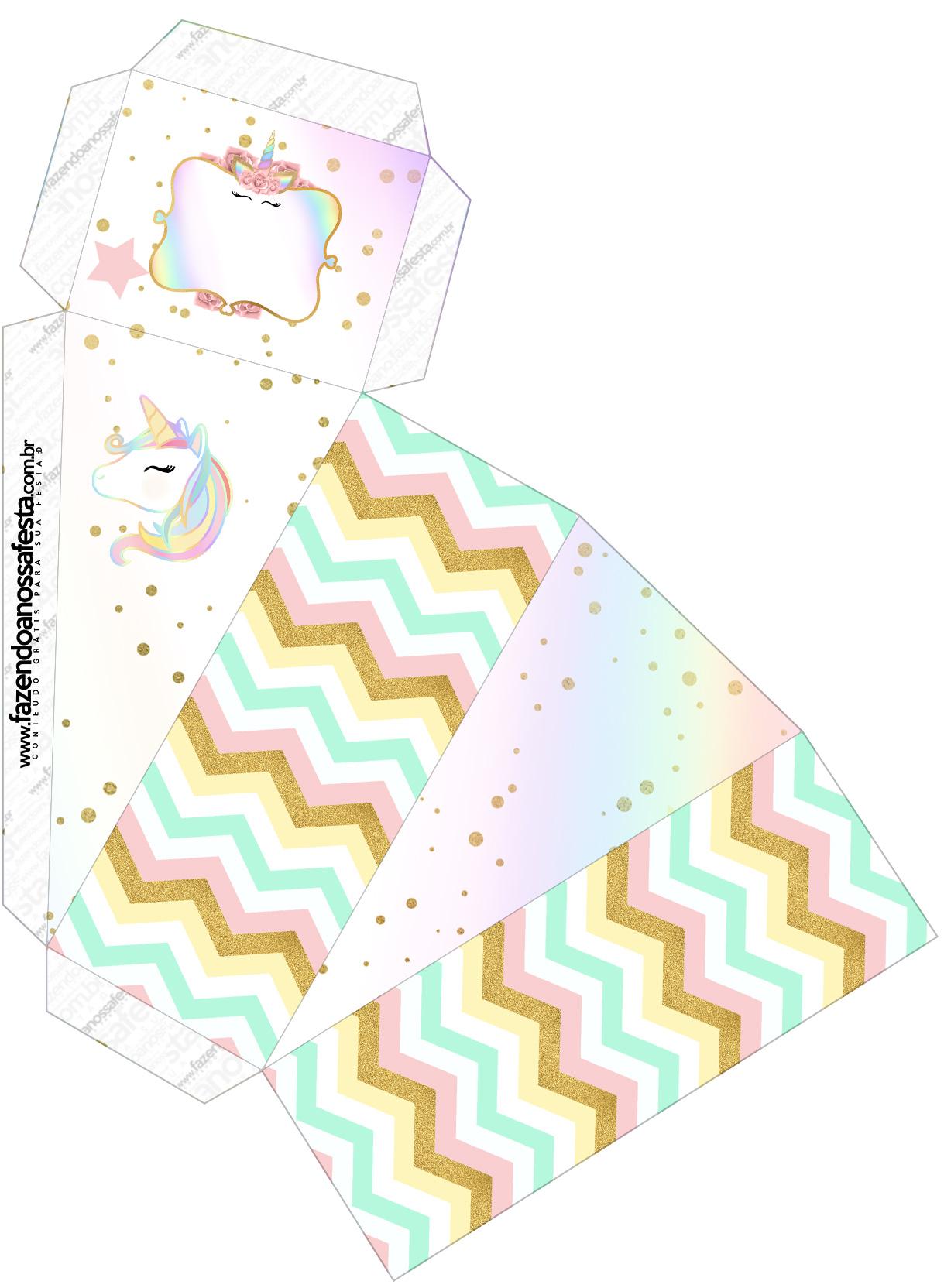 Caixa Fatia Unicornio Colorido