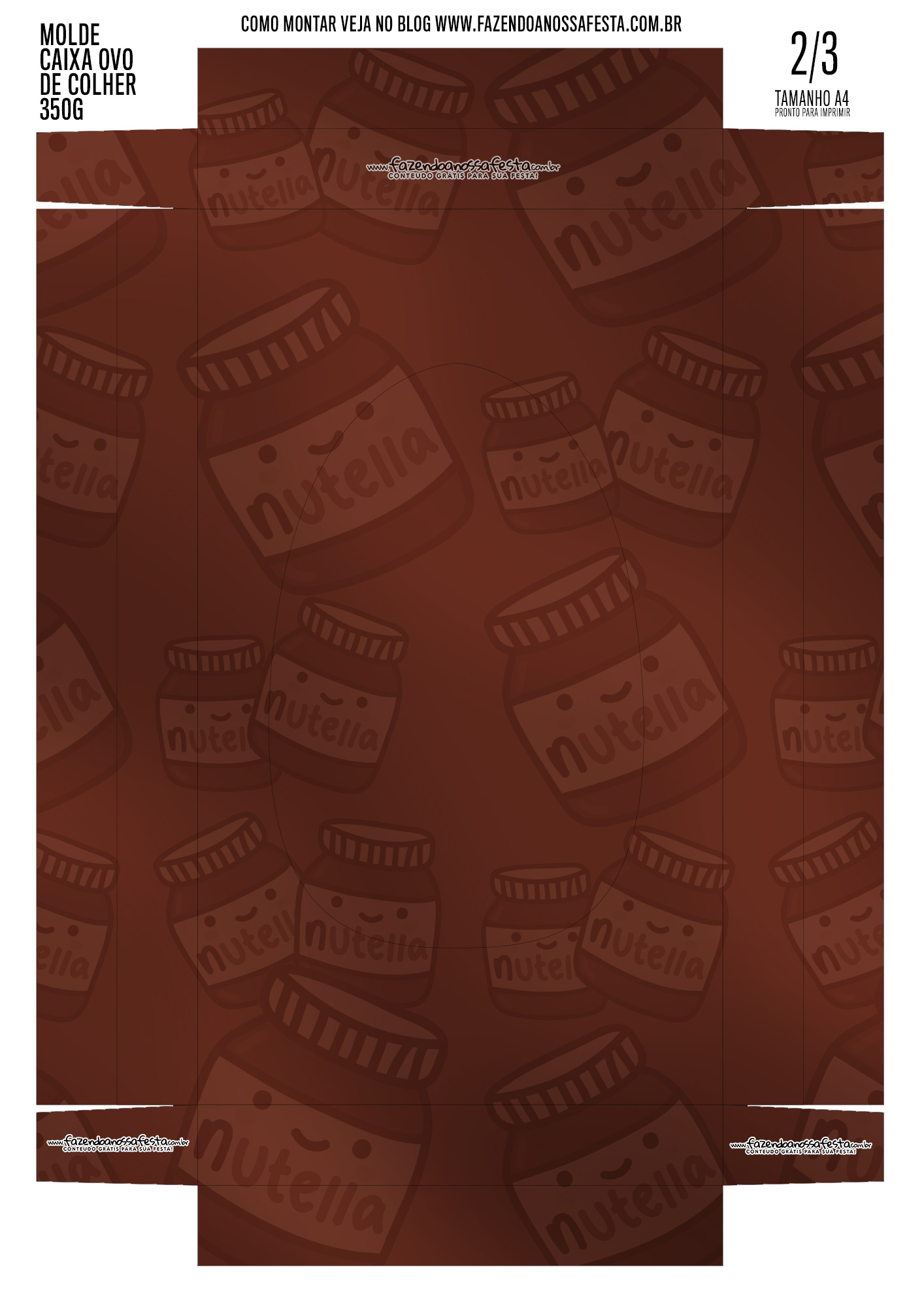Caixa Ovo de Colher para Pascoa Nutella meio 1