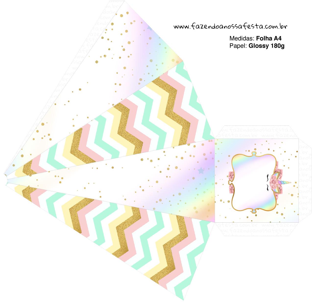 Caixa Piramide 2 Unicornio Colorido