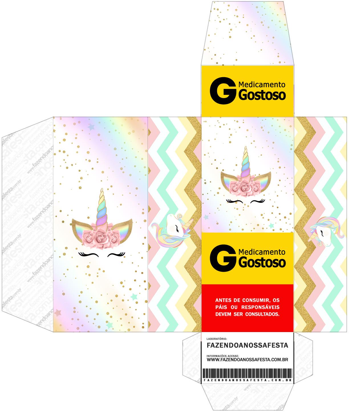 Caixa Remedio Unicornio Colorido