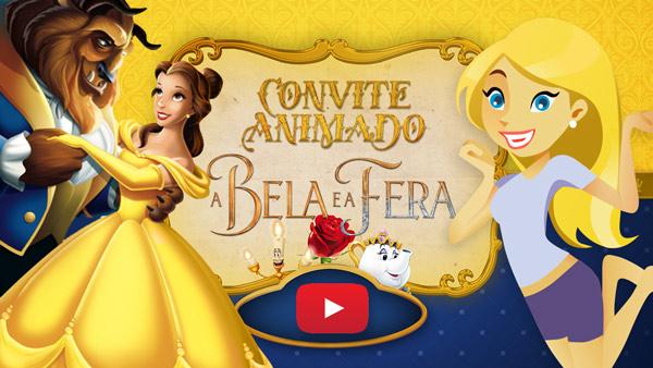 Convite Animado Virtual A Bela e a Fera