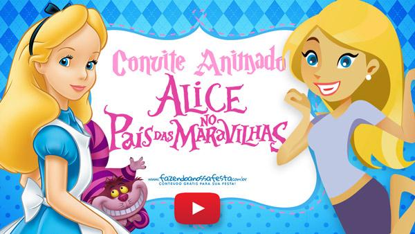Convite Animado Virtual Alice no Pais das Maravilhas