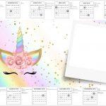 Convite Calendario 2017 Unicornio Colorido