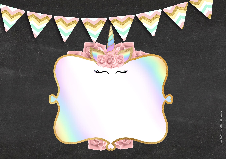 Convite Chalkboard Unicornio Gratis