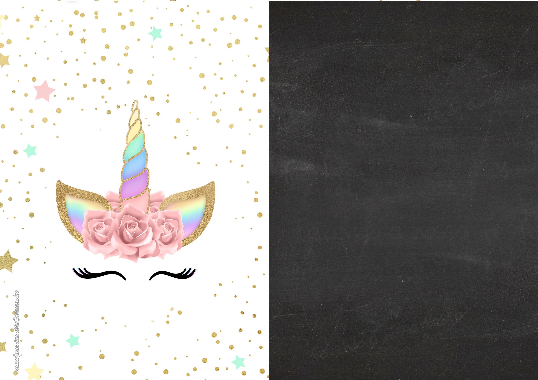 Convite Chalkboard Unicornio Gratis 3