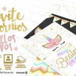 Convite Unicórnio Grátis para Baixar e Imprimir em Casa