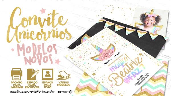 Convite Unicornio Gratis para Festa Infantil