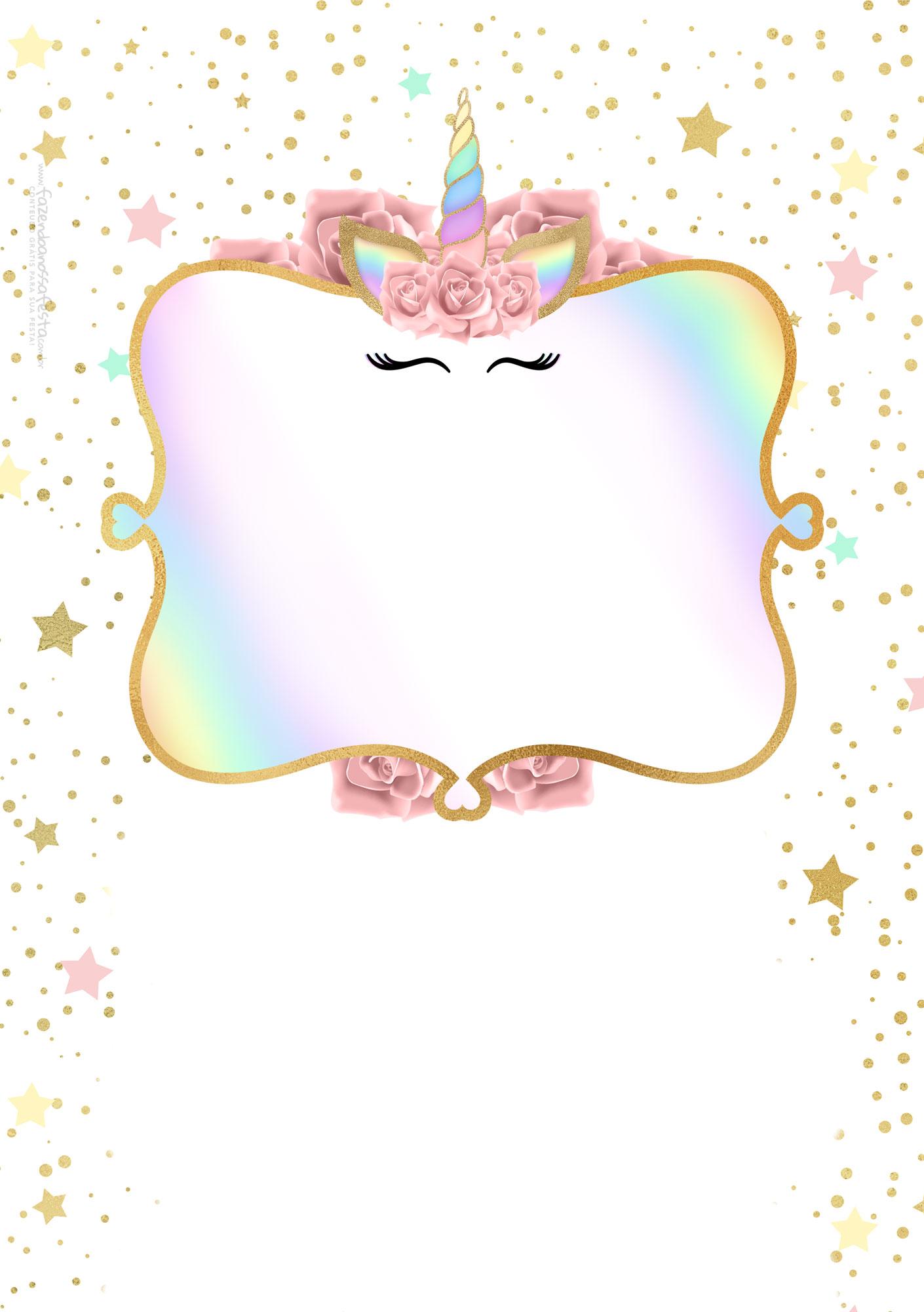 Convite Unicornio Gratis 3