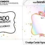 Envelope do Cartao Agradecimento Unicornio Colorido