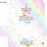 Molde Caixa Baton Unicornio Colorido