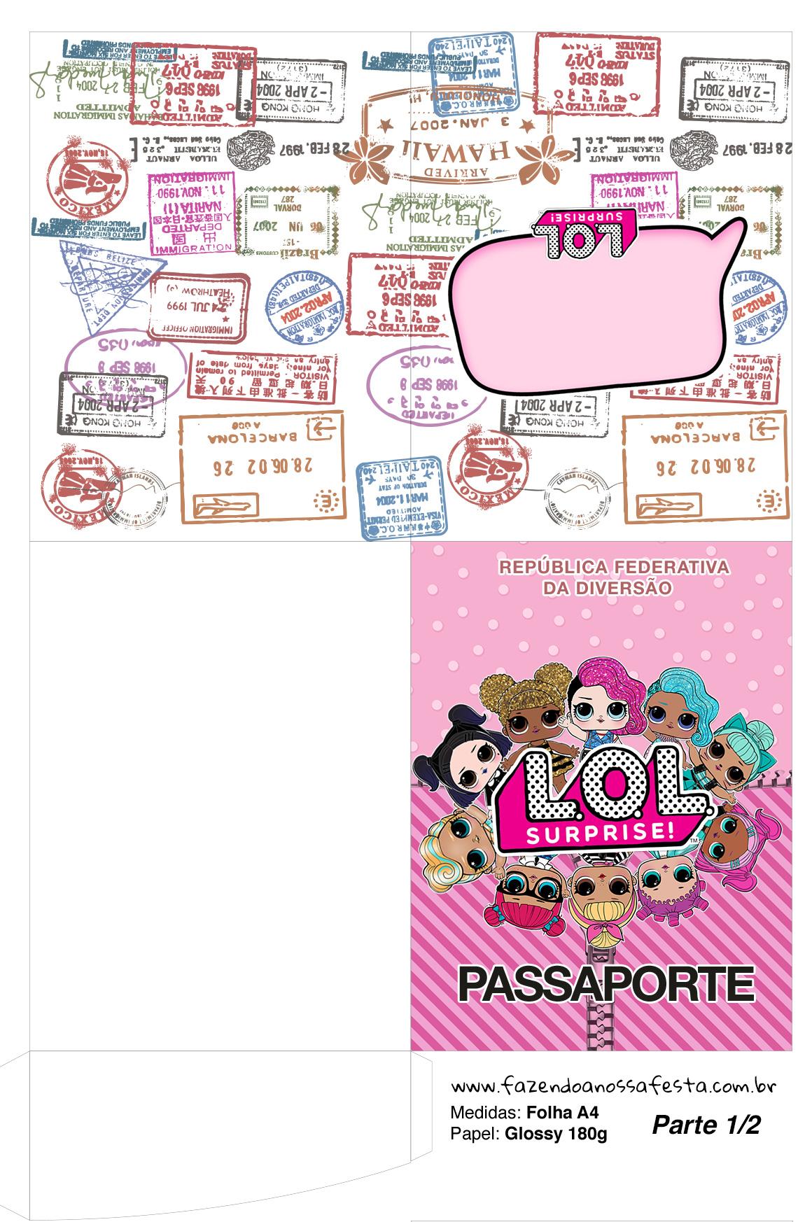 Molde Passaporte LOL Surprise kit festa