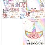 Molde Passaporte Unicornio Colorido Kit Festa
