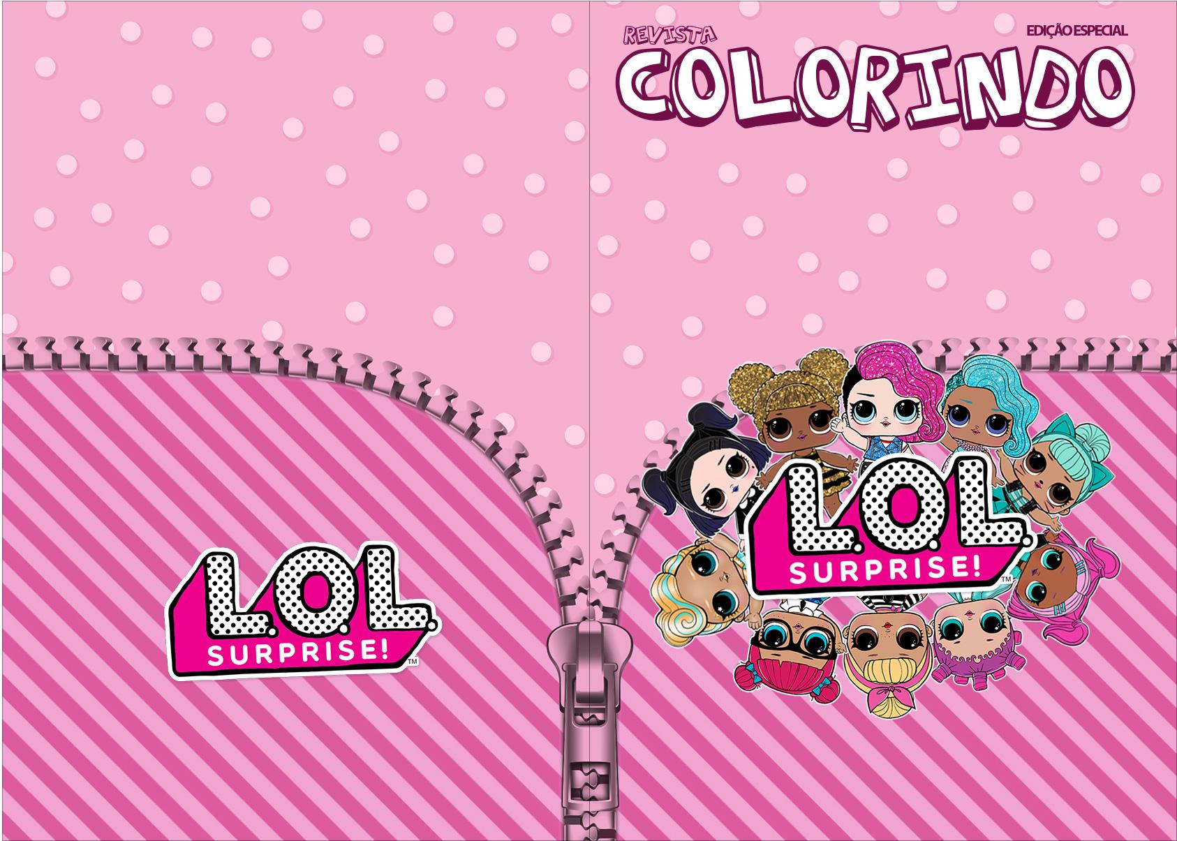 Revista Colorindo LOL Surprise kit festa