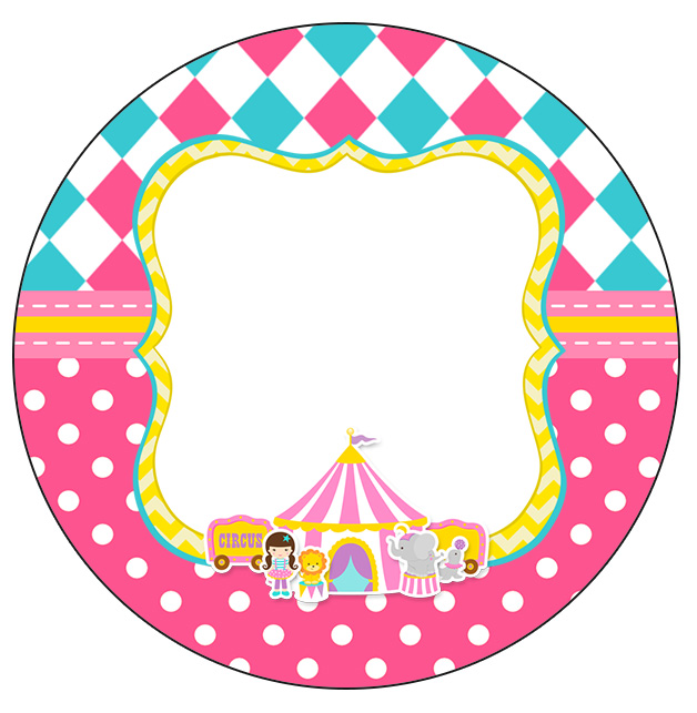 Rotulo Personalizado para latinha e toppers Circo Menina Kit festa