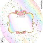 Rotulo Tubete Oval Unicornio Colorido