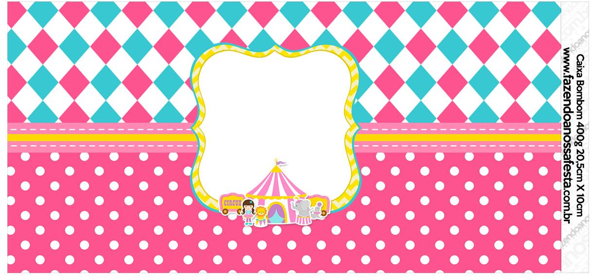 Rotulo para Caixa bombom Circo Menina