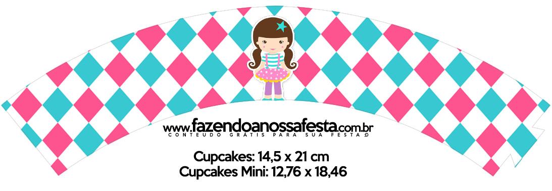 Saias Wrappers para Cupcakes Circo Menina Kit Festa