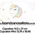 Saias Wrappers para Cupcakes Unicornio Colorido Kit Festa