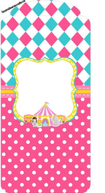 Tag Agradecimento Circo Menina Kit Festa