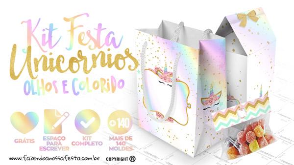 Unicórnio Colorido Kit Festa Grátis para Baixar e Imprimir em Casa