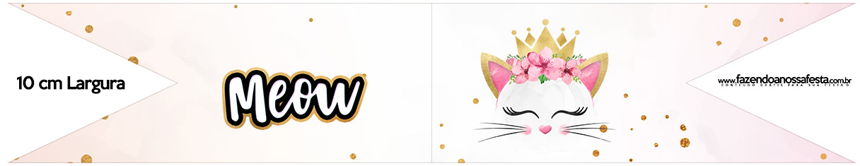 Bandeirinha para Sanduiche Gatinho Kit Festa