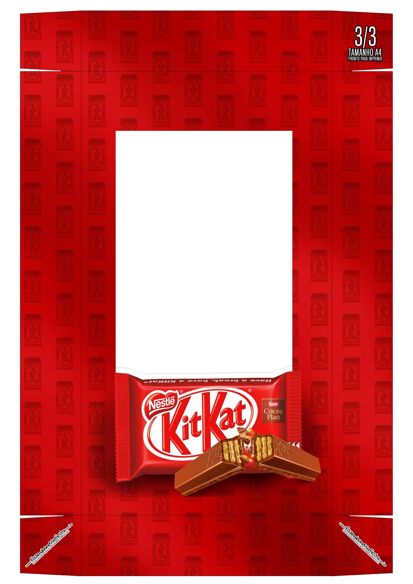 Caixa Kit Mini Confeiteiro Chocolates Kit Kat parte de cima