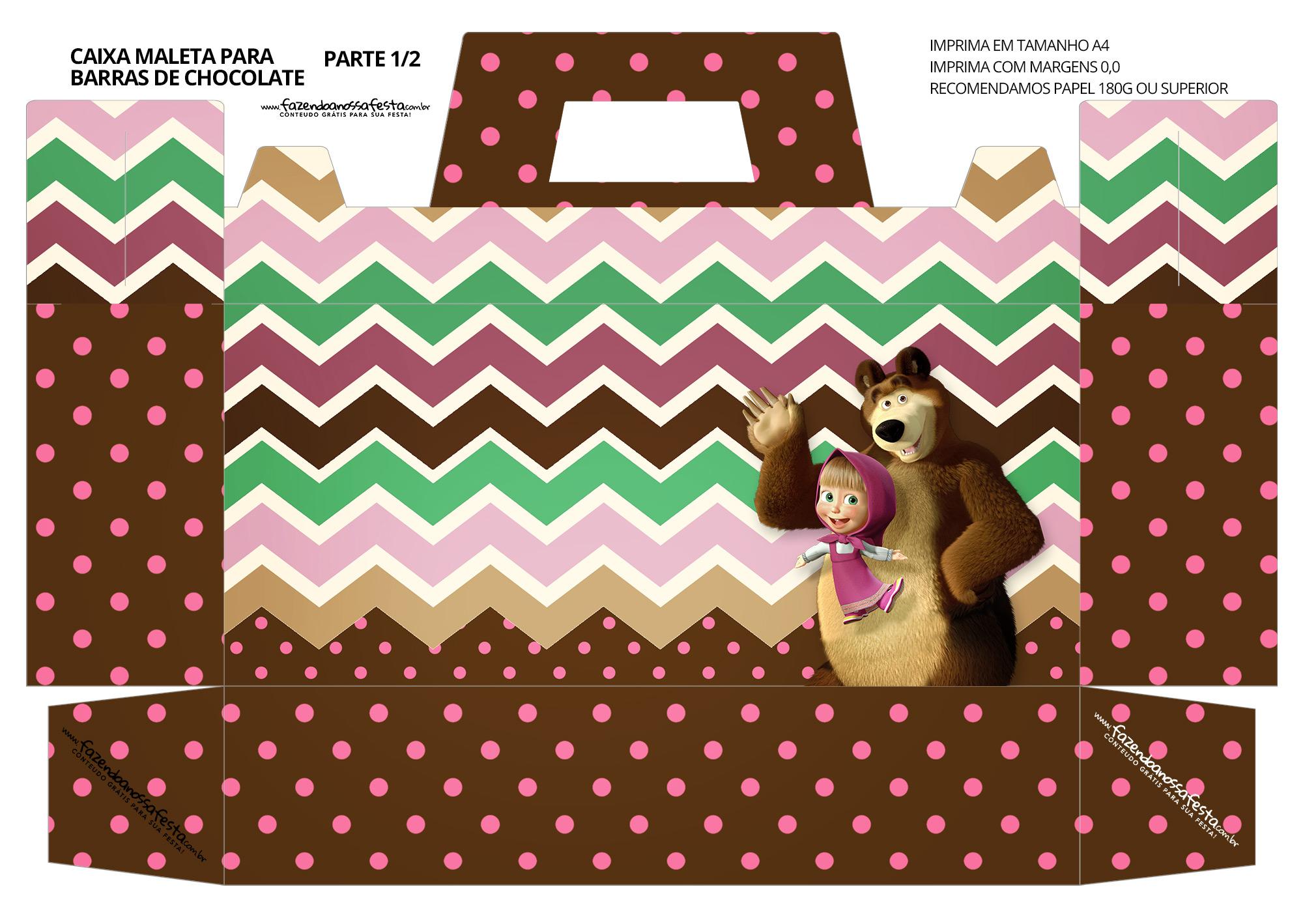 Caixa Maleta para Pascoa Personagens Masha e o Urso 01