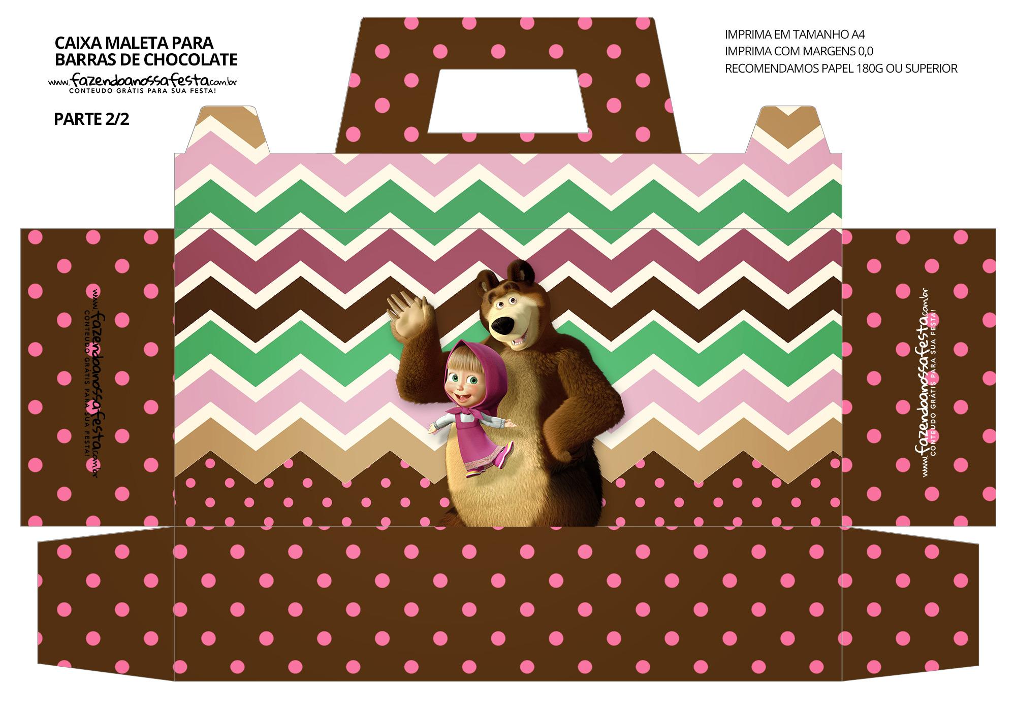 Caixa Maleta para Pascoa Personagens Masha e o Urso 02
