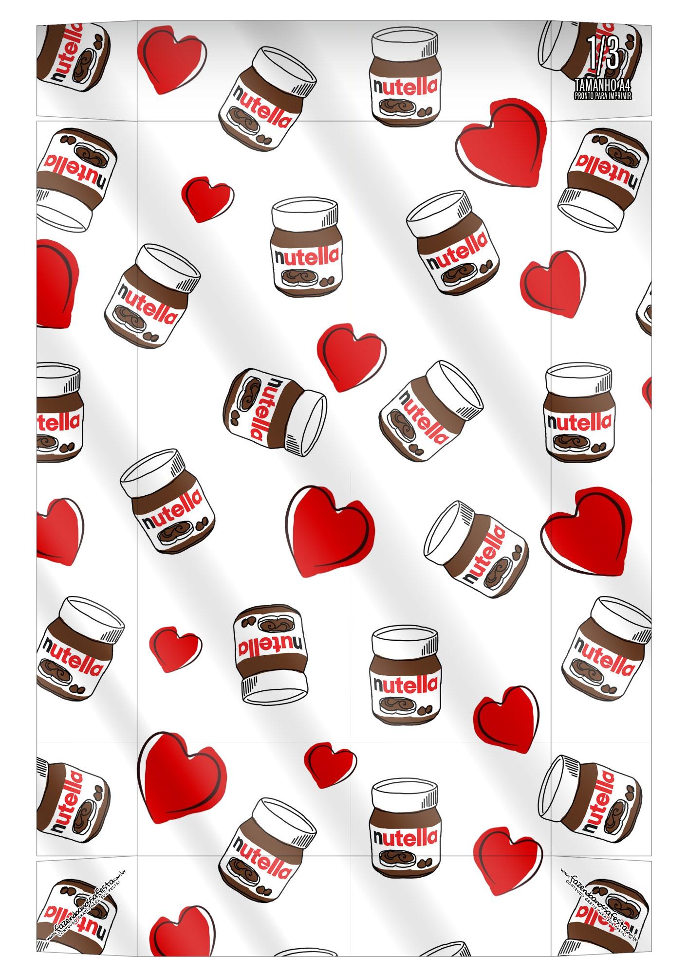 Caixa Kit Mini Confeiteiro Chocolates Nutella parte de baixo