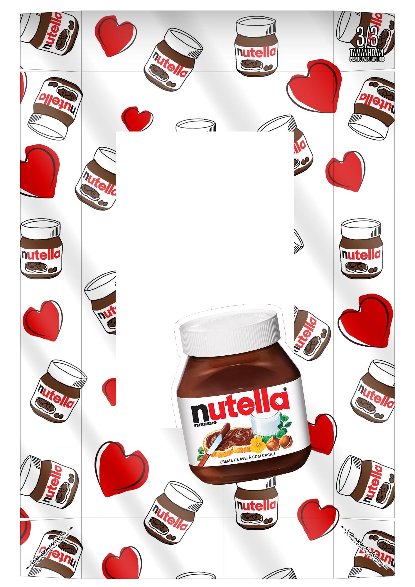 Caixa Kit Mini Confeiteiro Chocolates Nutella parte de cima