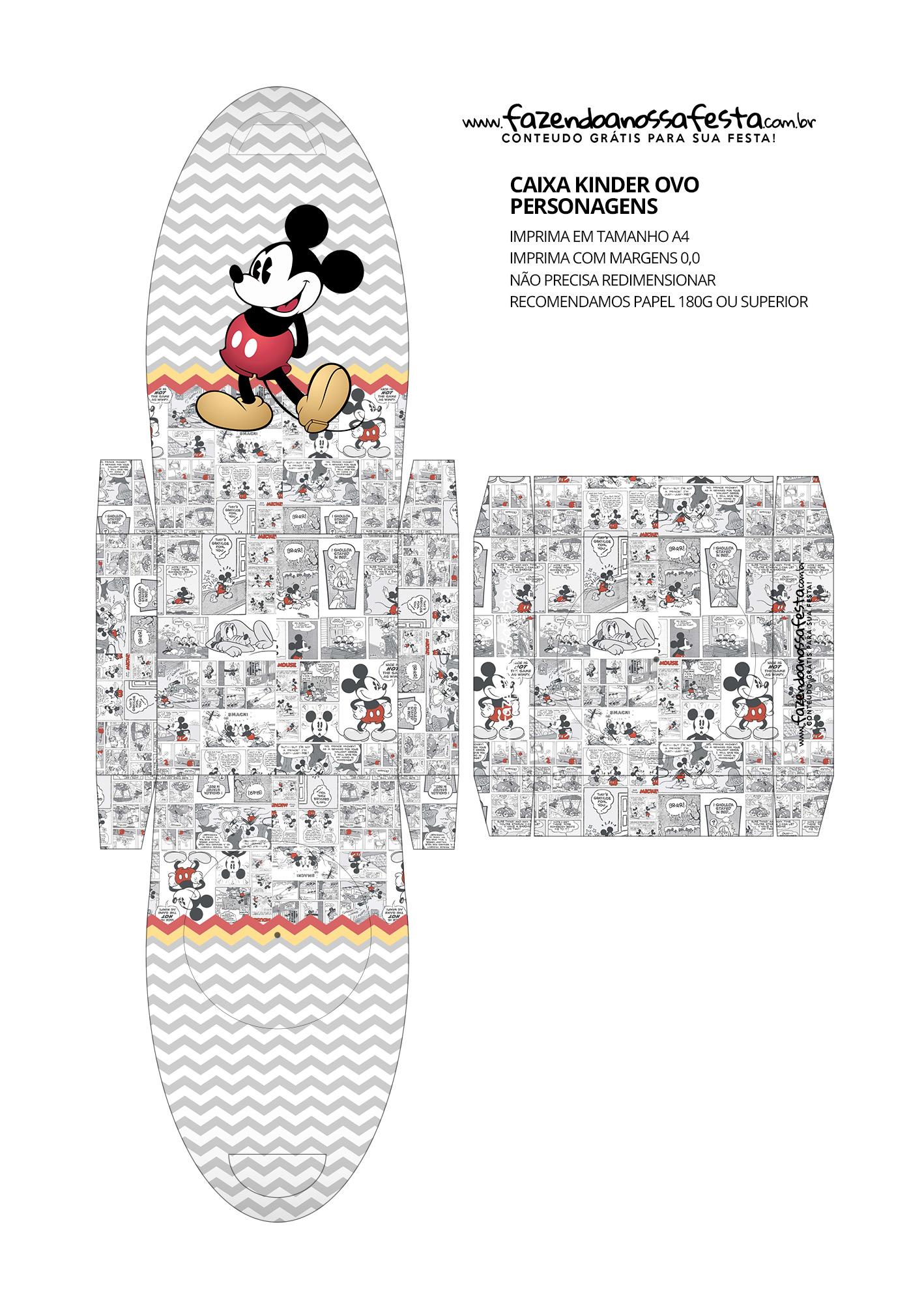 Caixa Personalizada de Kinder Ovo Mickey Mouse Vintage