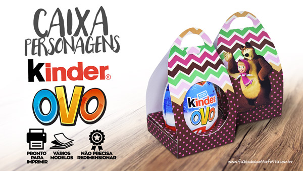 Caixa Personalizada de Kinder Ovo para Pascoa Gratis