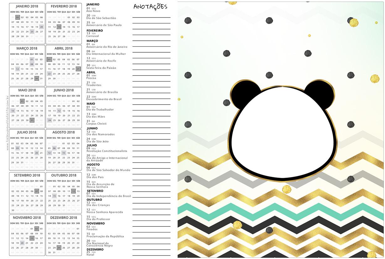 Calendario 2017 2 Panda Menino