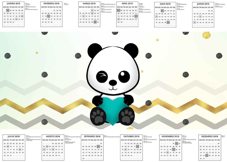 Calendario 2017 Panda Menino Kit Festa