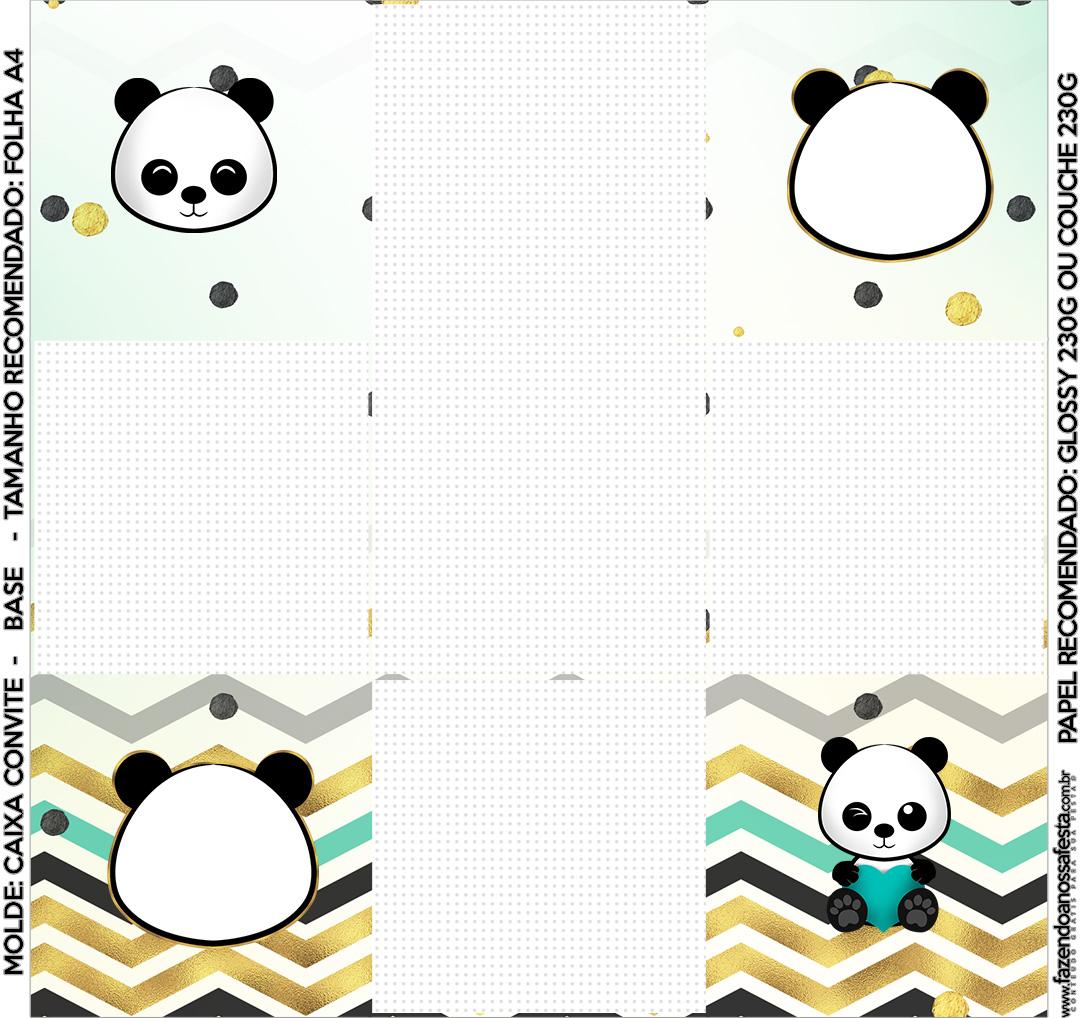 Convite Caixa Fundo Panda Menino