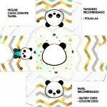 Convite Caixa Tampa Panda Menino