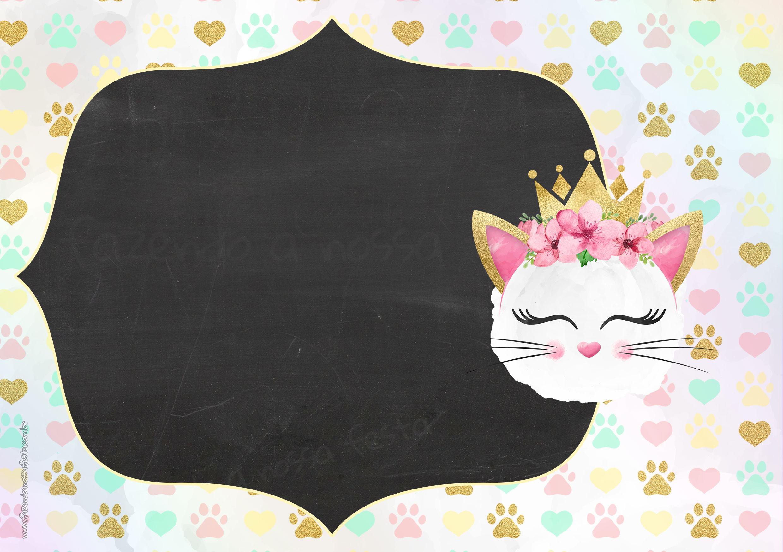 Convite Chalkboard Gatinho 4