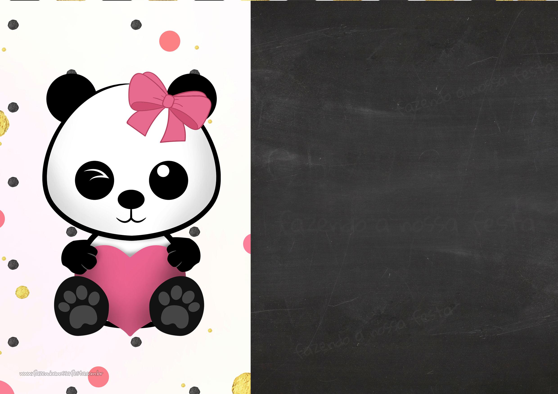 Convite Chalkboard Panda Menina 2