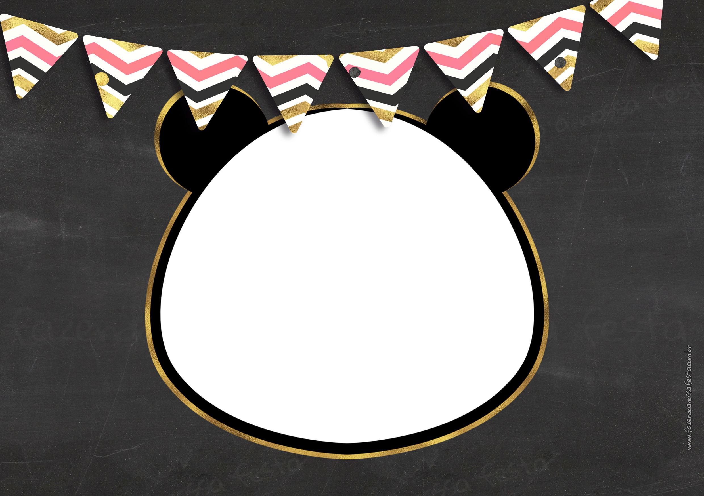 Convite Chalkboard Panda Menina 3