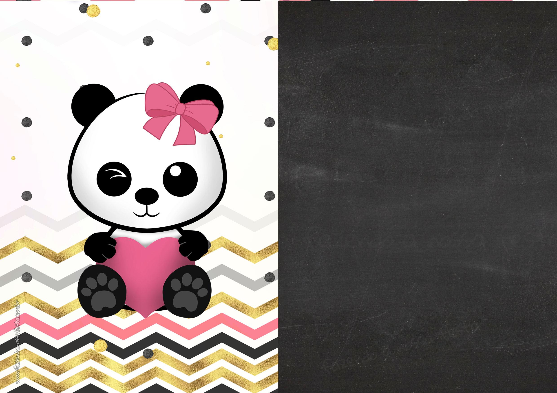 Convite Chalkboard Panda Menina 4
