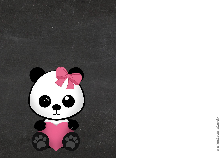 Convite Chalkboard Panda Menina 5