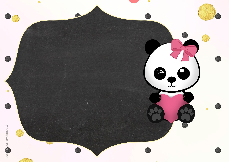 Convite Chalkboard Panda Menina 6