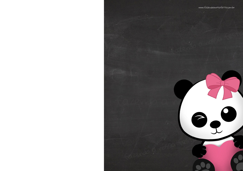 Convite Chalkboard Panda Menina