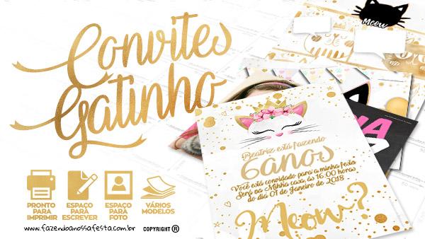 Convite Gatinho Gratis para Imprimir