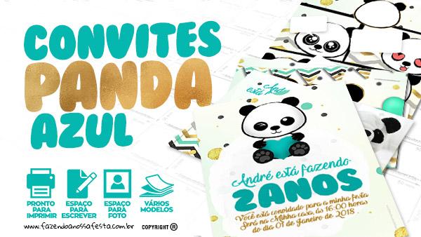 Convite Panda Menino Gratis para Imprimir