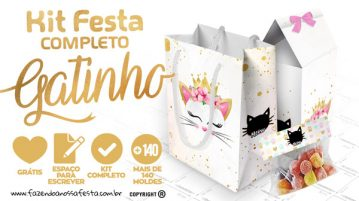 Gatinho Kit Festa Gratis para Imprimir
