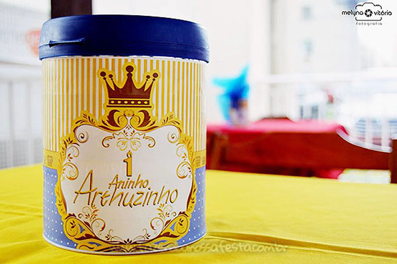 Lata de leite personalizada Festa Infantil Principe do Arthur