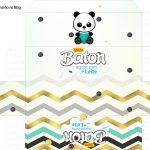 Molde Caixa Baton Panda Menino