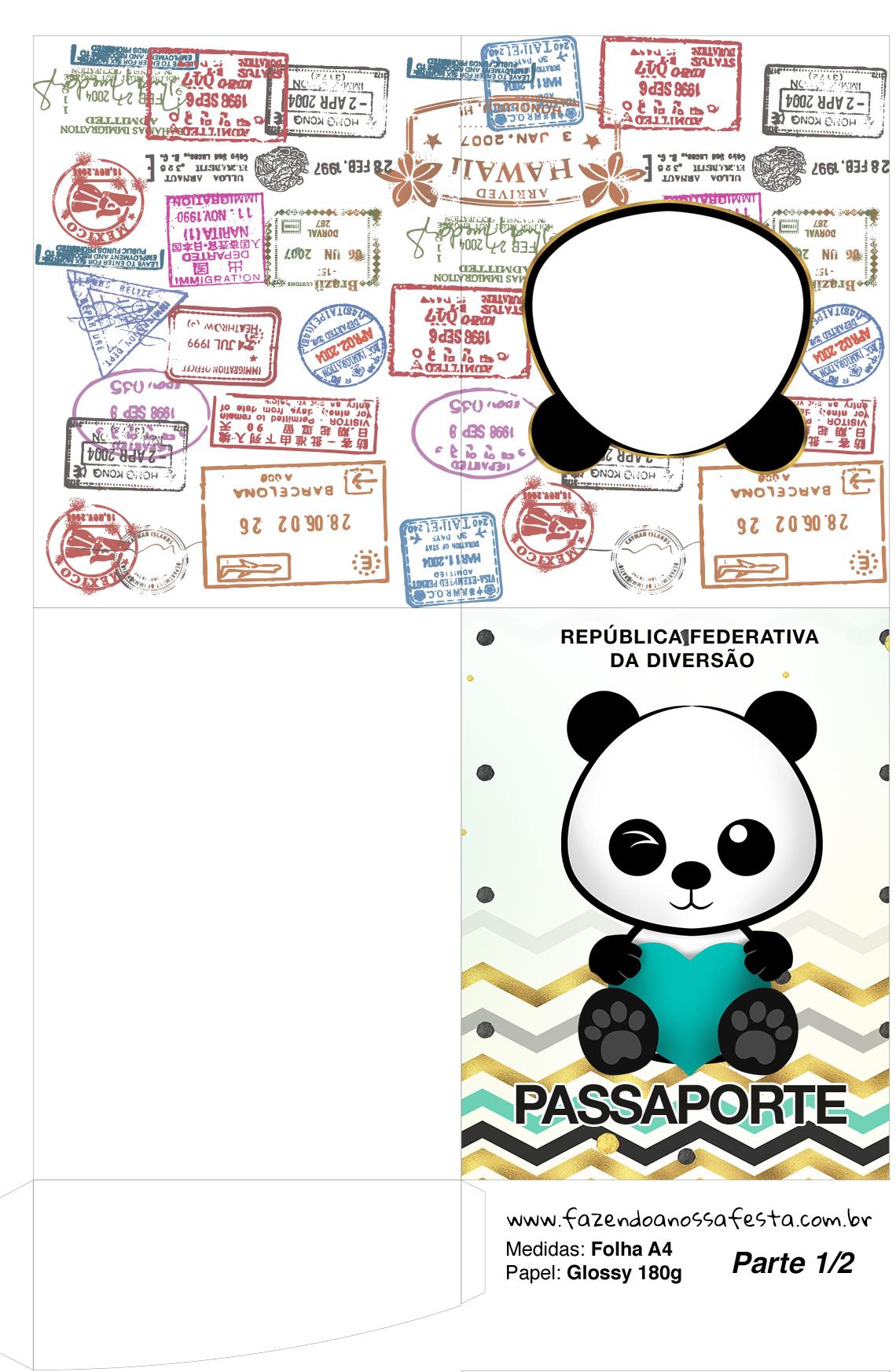 Molde Passaporte Panda Menino kit festa