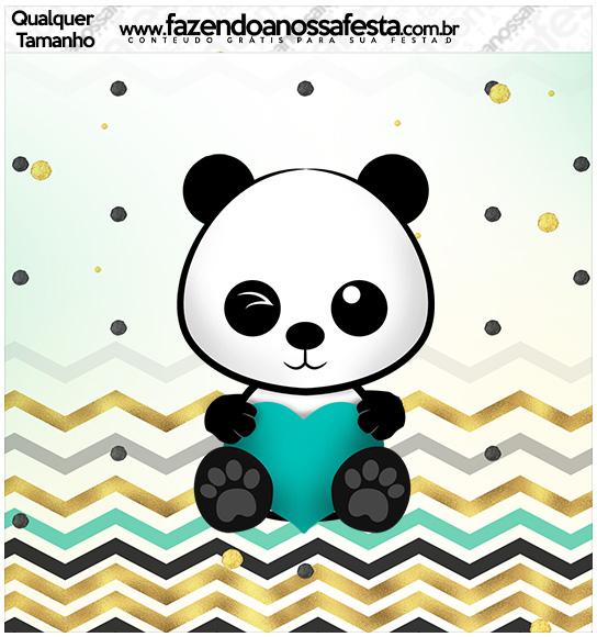 Molde Quadrado Panda Menino Kit Festa
